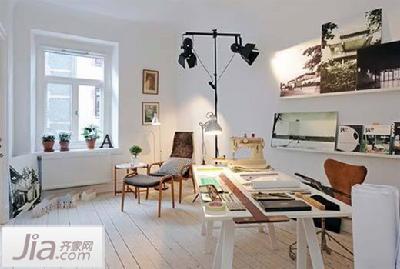工作室简约现代纯白色装修效果图